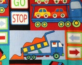 One Half Yard of Fabric Material - Construction Trucks and Vehicles Twill
