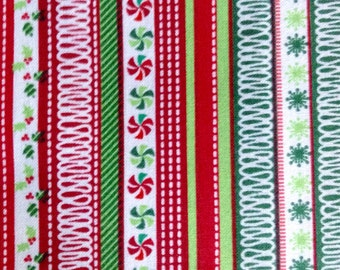 Half Yard of Fabric Material - Christmas Mini Stripe