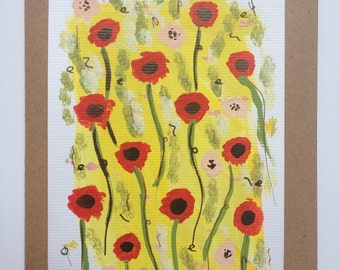 Hand painted abstract poppy card by Bear
