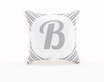 Grey Throw Pillows, Gray Pillow Cover, Throw Pillow Monogram, Stripped Pillow, Neutral Pillow Covers,Monogram Throw Pillow Cover, Pillow Art