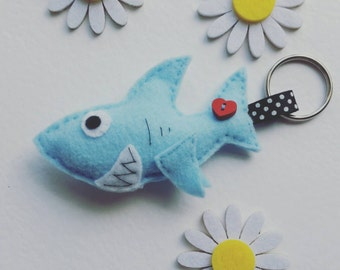 Blue Shark Felt Keyring
