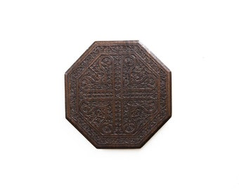 Carved Wooden Octagonal Panel