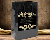 20 Gold on Black Baroque Wedding Welcome Bags, destination wedding bags, hospitality hotel guest bag, wedding favors out of towner goody bag
