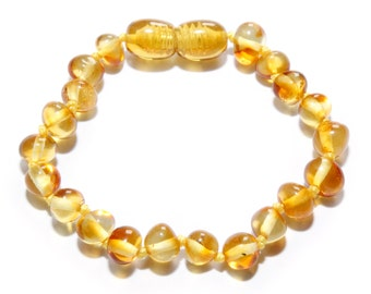 Genuine Baltic Amber Baby Teething Bracelet Anklet Honey. Authentic 13 - 14 cm/5.1 - 5.5 in in RBB4