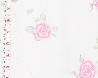 Pink, Green, White Roses, Sheer Organza Fabric  3 Yards Available - by the Piece