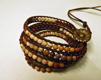 Multicolor Moukaite Leather Wrap Bracelet