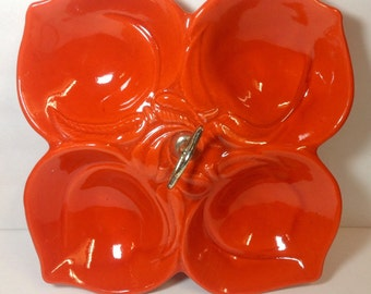 USA California pottery/ Divided dish/ Shaped like 4 peaches/ Bright orange
