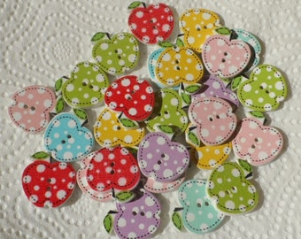 15 Wooden buttons to Apple mix color 21x20mm
