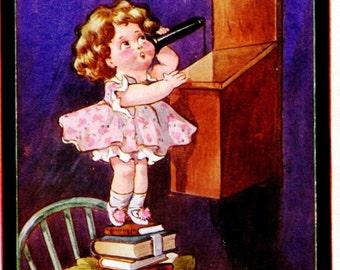Cute Little Girl Calling Grandpa on an Old Fashioned Telephone 1914