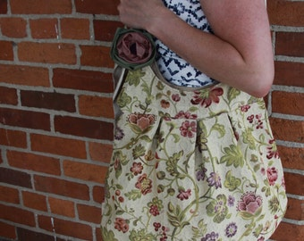 Handmade Floral Pattern Women's Shoulder Bag Recycled Material