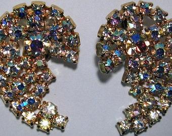Vintage large goldtone prong set AB stones costume jewelry earrings