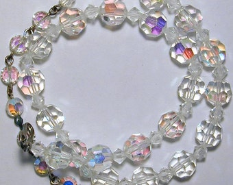 Vintage faceted faint AB crystals costume jewelry choker