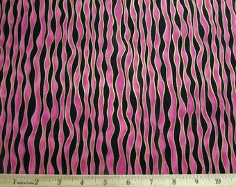 Per Yard, Pink and Black Stripe with Metallic Gold Fabric From Quilting Treasures