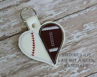 SPLIT Baseball Football Appliqued - Heart -  In The Hoop - Snap/Rivet Key Fob - DIGITAL Embroidery Design