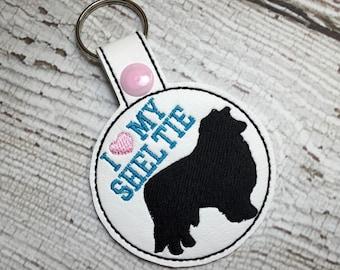 I Love My Sheltie - Shetland Sheepdog - In The Hoop - Snap/Rivet Key Fob - DIGITAL Embroidery Design