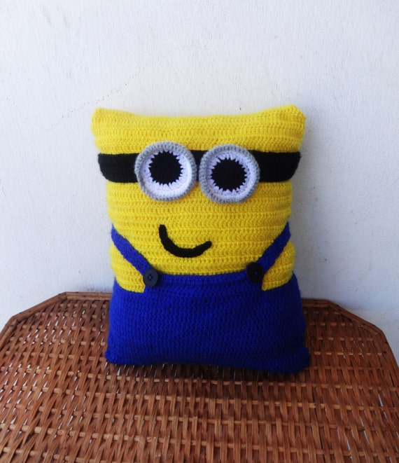 Free Minion Cushion Crochet Pattern : Minion Pillow Crochet Pillow Funny Pillow by CrazyButterflies