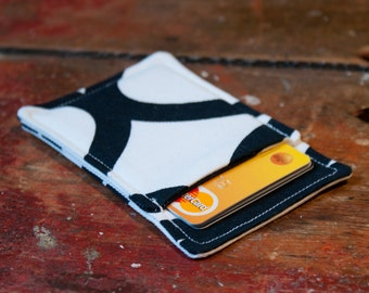 Black and white thin wallet - Minimalistic wallet - Thin card case - Business card holder - Fabric card sleeve -  Men and Women wallet OOAK