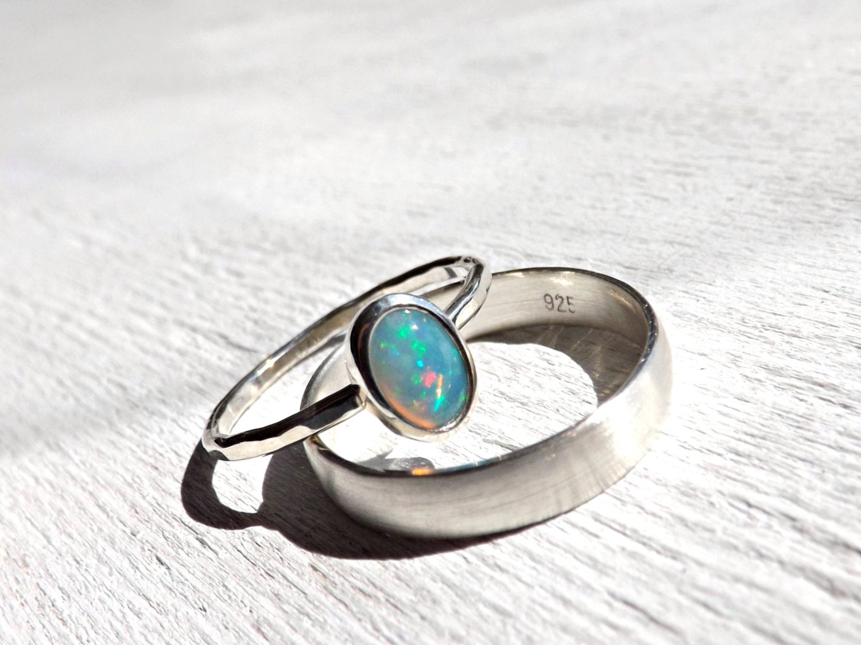 opal silver ring set opal engagement ring opal wedding band