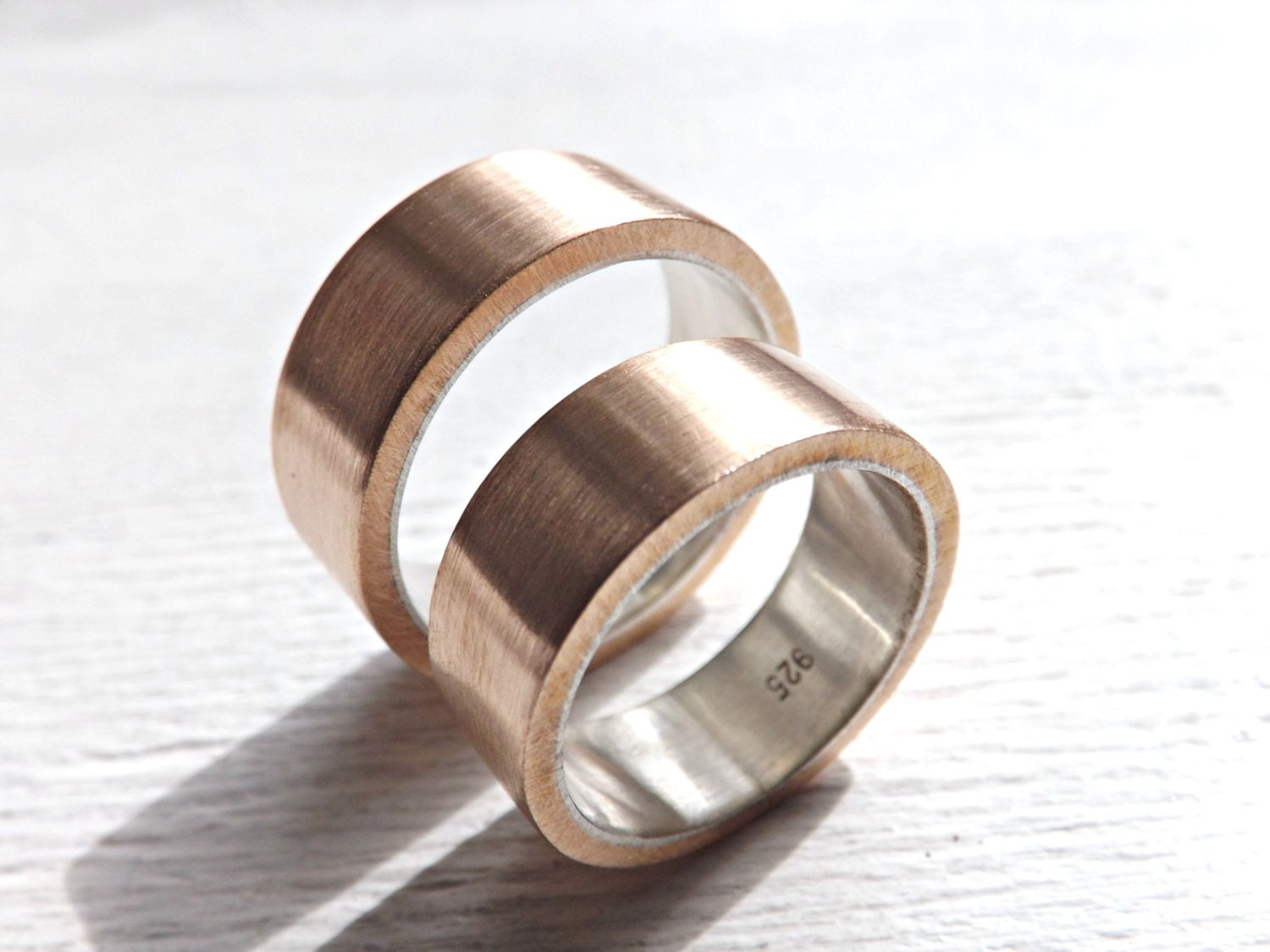 Bronze Silver Rings Matching Wedding Bands Rustic Wedding