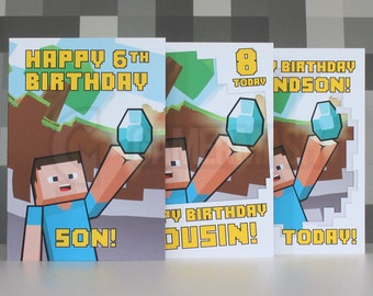 Personalized Birthday Card Inspired by Video Games: Steve 1