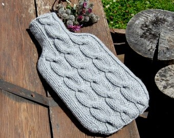 Hand knit hot water bottle cover cosy/ cozy , cable pattern, BOTTLE  NOT INCLUDED, fits a standard 2 litre hot water bottle.