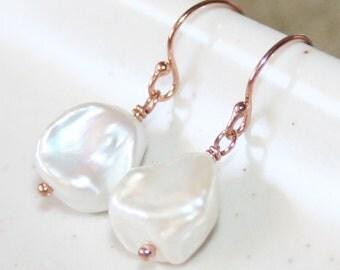 Genuine Freshwater Keshi Pearl Hook Earrings, 14K Rose Gold filled, Baroque Pearl Earrings, June Birthstone Earrings, Bridesmaid Gift