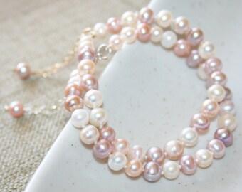 Genuine Natural Multi-Color Freshwater Pearl Pearl Bracelet, Sterling Silver / 14K Gold-Filled Bracelet, June Birthstone, Bridesmaids gift