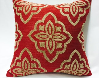 Chenille Texture Medallion Pillow Cover in Red and Tan  from Jaclyn Smith Home Collection