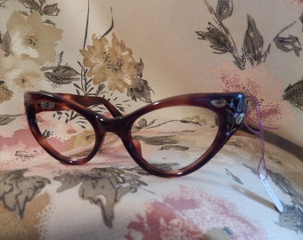 Stunning Vintage Cat's Eye Glasses with Inlaid Metal and Crystals