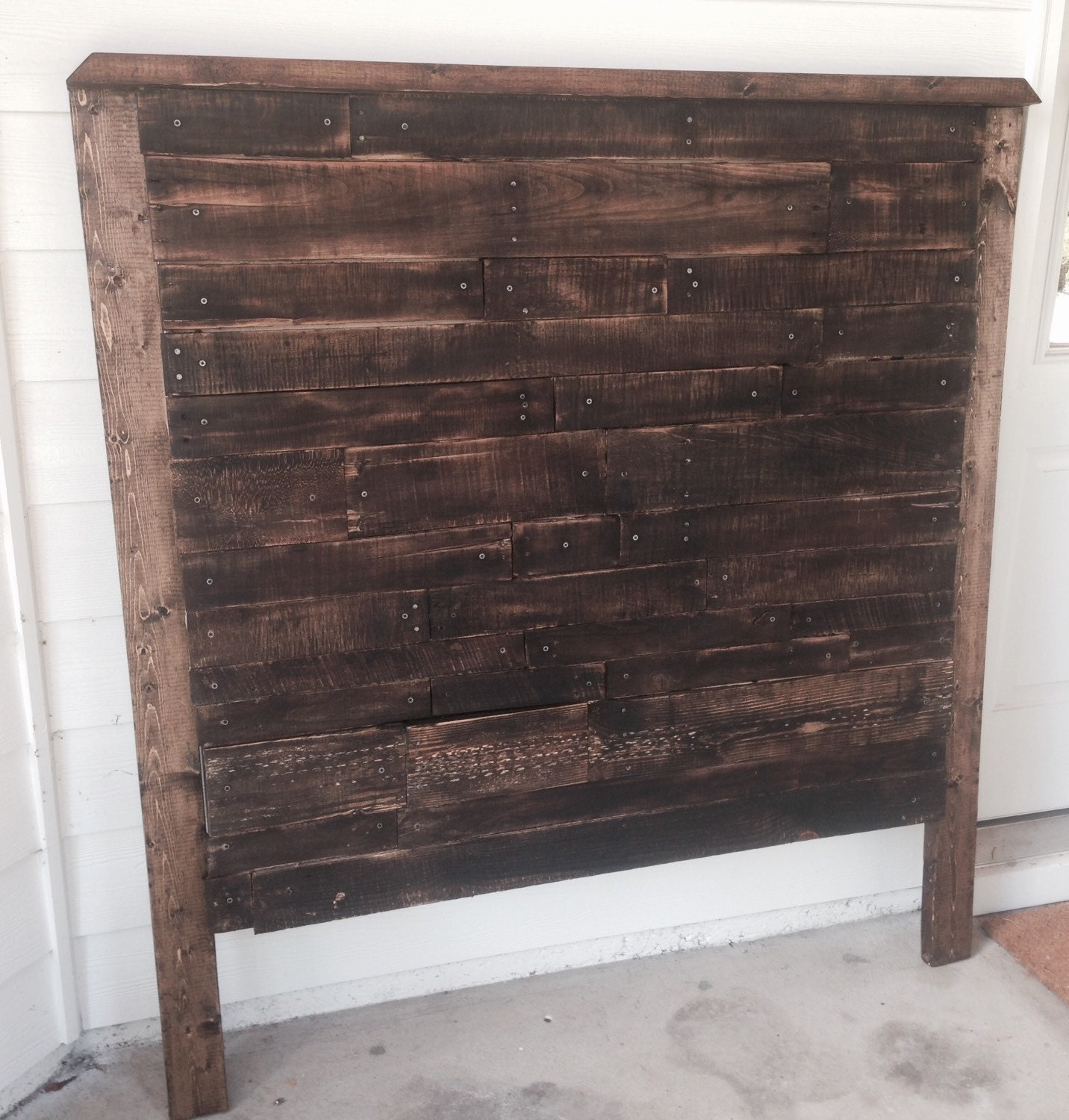 Pallet Headboard Rustic Aged Wood Farmhouse Style Queen