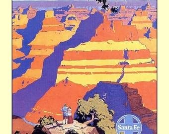 "Train ride to the GRAND CANYON in Santa Fe, Arizona,  landmarks, 8x10""  Canvas art print travel tourism"