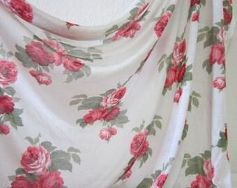 Shabby Chic Rose Jersey Knit/1-yard Rose Print, Soft Tissue Jersey Fabric/Red Rose Jersey Knit/Scarf Jersey/Shawl Jersey Knit