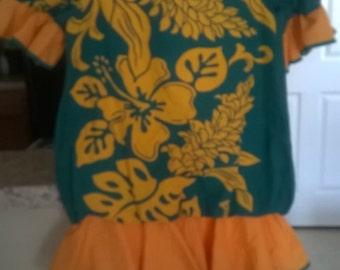 Yellow and green Hawaiin dress,Little girl size 6