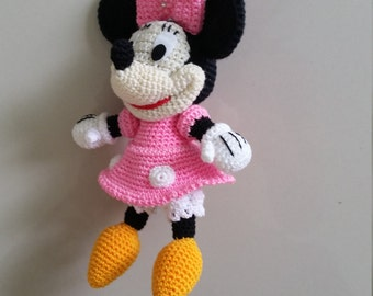 Minnie Mouse crochet  Key Chain/ backpack zipper pull. Birthday gift, Christmas gift!