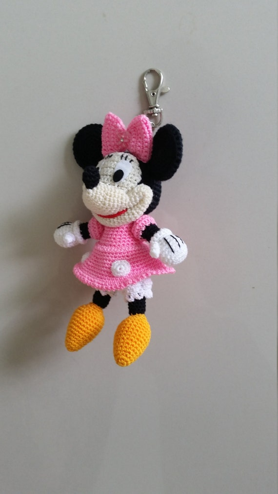 Crochet Minnie Mouse Doll : Minnie Mouse crochet Key Chain/ backpack zipper pull.