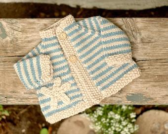 Soft Machine Washable Merino Wool Baby Cardigan,  6 to 9 Months, Starfish Motif