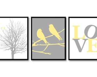 Bird Nursery Art Tree Branch Prints Set of 3 LOVE Yellow Grey Gray Chevron Baby Wall Decor Tree Nursery Art