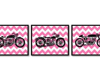 Motorcycle Nursery Art Nursery Prints Transportation Set of 3 Prints Black Pink Chevron Kids Art Nursery Print Baby Children Wall Decor