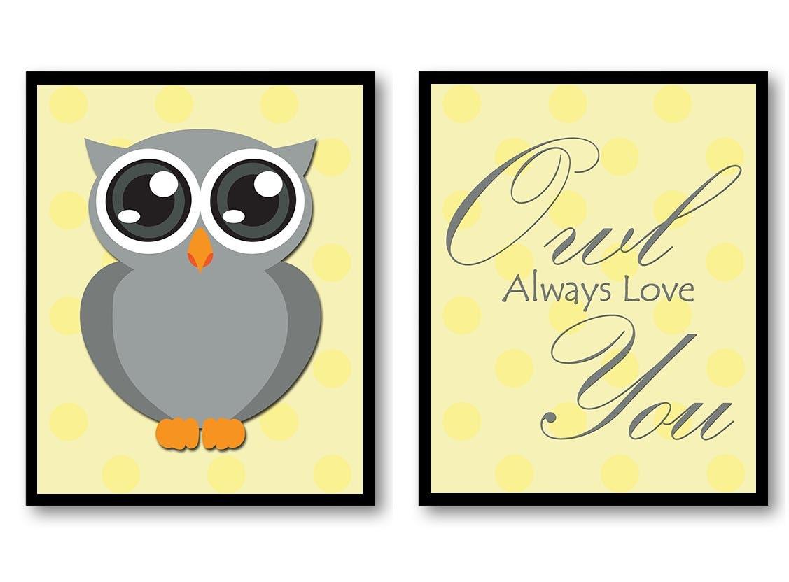 Owl Always Love You Nursery Art Nursery Print Set of 2 Polka Dots Yellow Grey Child Prints Kids Room