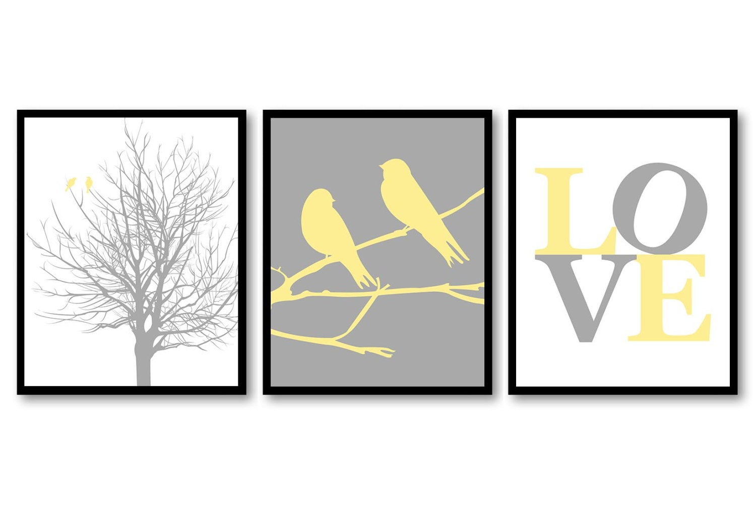 Bird Nursery Art Tree Branch Prints Set of 3 LOVE Yellow Grey Gray Chevron Baby Wall Decor Tree Nurs