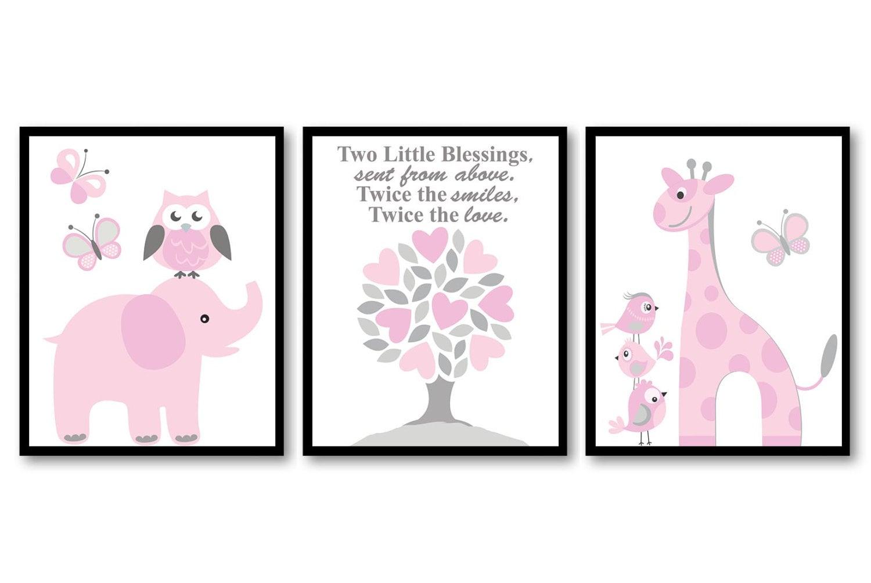 Pink Pink Grey Girl Girl Twins Nursery Art Print Set of 3 Elephant Owl Bird Tree Giraffe Baby Nurser
