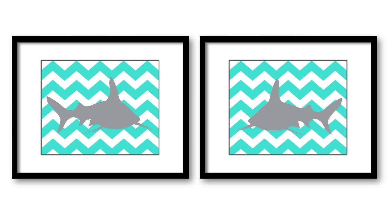 Shark Nursery Art Nursery Print Set of 2 Sharks Turquoise Blue Grey Child Art Prints Sea Ocean Marin