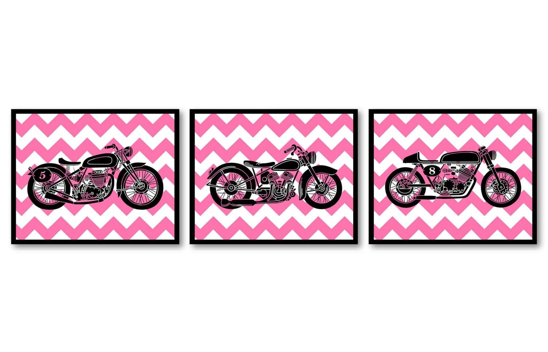Motorcycle Nursery Art Nursery Prints Transportation Set of 3 Prints Black Pink Chevron Kids Art Nur