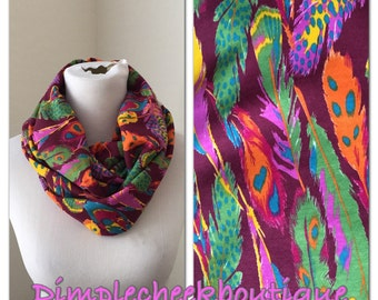 Infinity Scarf- purple feathers- now available in infinity and regular!
