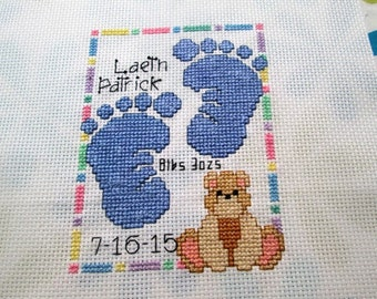 Customized Birth Announcement Cross-Stitch