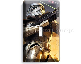 Star Wars Stormtrooper fighting in space war single light switch cover plate children boys game play room bedroom decoration Storm trooper