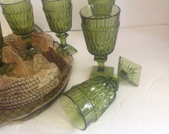 set of 6 vintage green stemmed footed cut pressed glasses