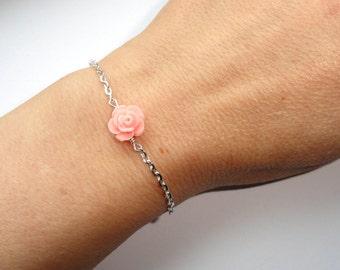 Rose bracelet, Silver rose bracelet, Flower bracelet, Pink coral flower bracelet, Flower girl gift