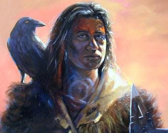 RAVEN QUEST - Raven and Native American Portrait on Canvas