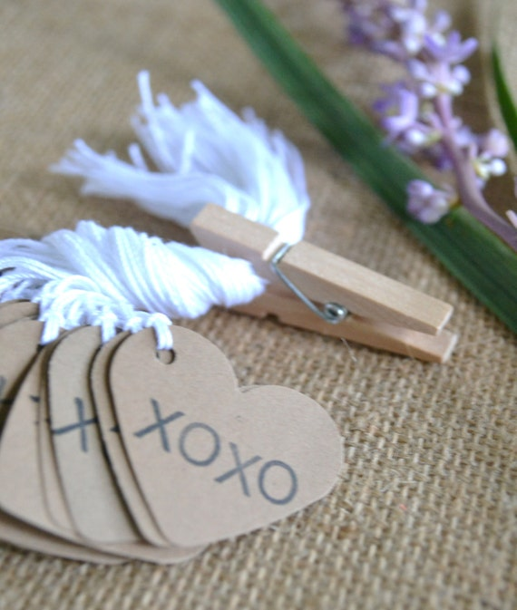 wedding favor tags, kraft mini heart bulk hang tags with string, bulk ...